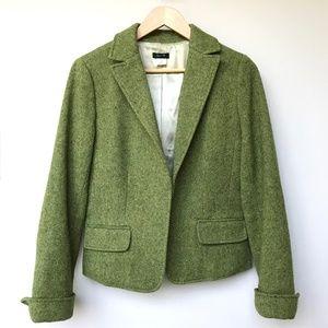 J Crew Green Donegal Tweed Wool Blazer Jacket 10